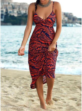 Print/Backless Sleeveless A-line Slip/Skater Vacation Maxi Dresses
