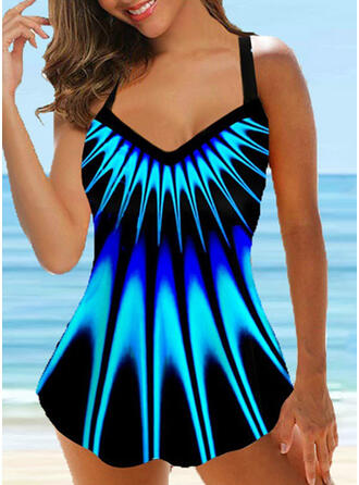 Print Strap V-Neck Plus Size Casual Swimdresses Swimsuits