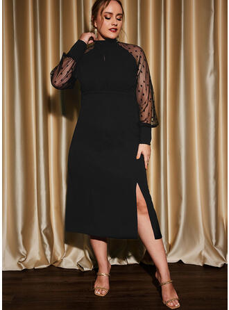 Solid Long Sleeves Raglan Sleeve Sheath Little Black/Party/Plus Size Midi Dresses