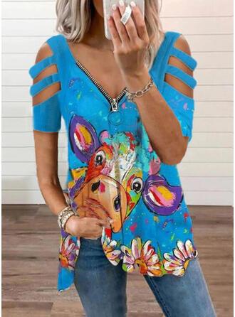 Floral Estampado Animal Ombro Frio Manga Curta Camisetas