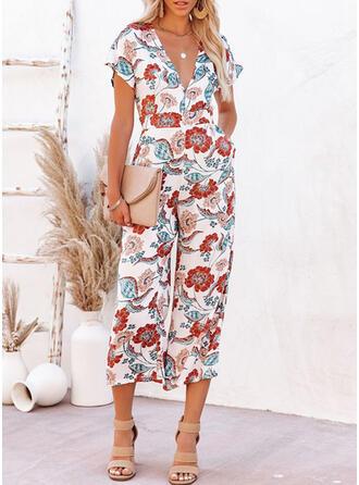 Floral V-Neck Short Sleeves Vacation Jumpsuit