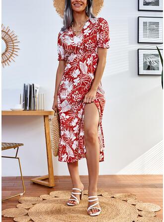 Estampado Manga Curta Vestido linha-A Skatista Casual Midi Vestidos