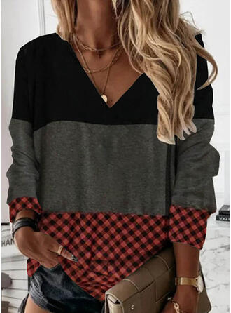 Print Color Block Plaid V-Neck Long Sleeves Sweatshirt