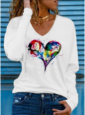 Cœur Imprimé Col V Manches Longues T-shirts