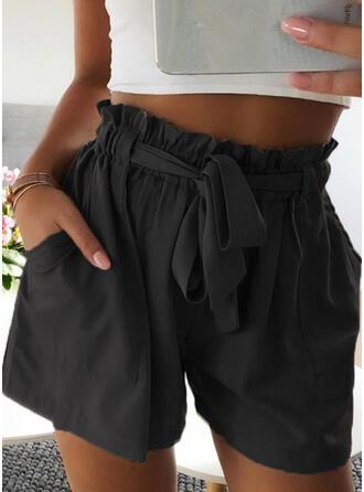 Pockets Shirred Plus Size Above Knee Boho Casual Pants
