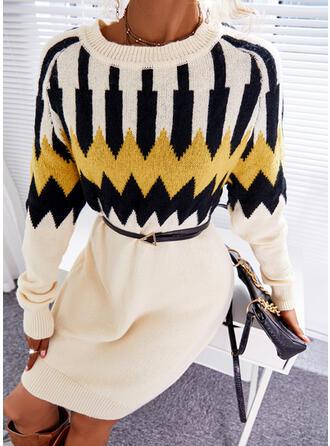 Print Round Neck Casual Sweater Dress