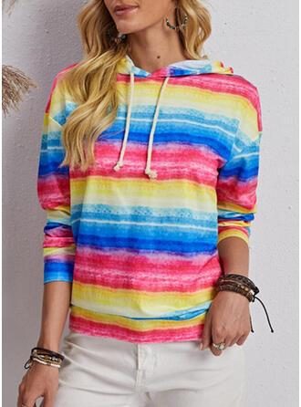 Print Striped Hooded Long Sleeves Sweatshirt