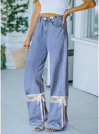 Trozos de color Encaje Largo Casual Bowknot Pantalones
