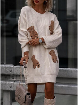 Animal Round Neck Casual Sweaters