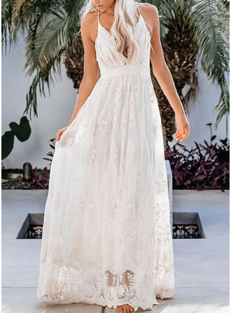 Lace/Solid Sleeveless A-line Slip/Skater Sexy/Party Maxi Dresses