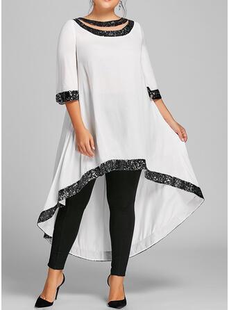 Plus Size Sequins 3/4 Sleeves Shift Asymmetrical Casual Elegant Dress