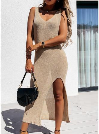 Solid Sleeveless Asymmetrical Sexy Maxi Dresses