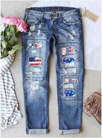 Imprimé Déchiré Décontractée Ancien Jeans