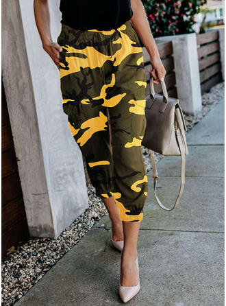 Pockets Shirred Camouflage Casual Sporty Pants