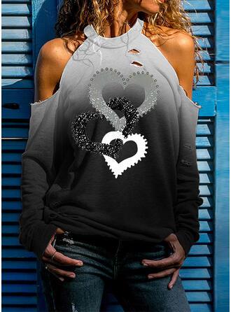 Pente Cœur Imprimé Accueil froid Manches Longues T-shirts