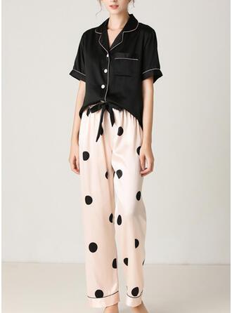 V-Neck Short Sleeves Dot Casual Top & Pants Sets