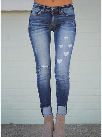 Imprimé Cœur Longue Décontractée Grande taille Poche déchiré Boutons Pantalon Jeans