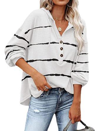 Striped Hooded Long Sleeves Hoodie
