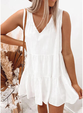 Solid Sleeveless Shift Above Knee Casual Tank Dresses