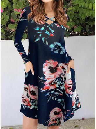 Estampado/Floral Manga Comprida Vestidos soltos Comprimento do joelho Casual Túnica Vestidos