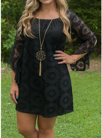 Plus Size Lace Solid 3/4 Sleeves Shift Above Knee Elegant Little Black Dress