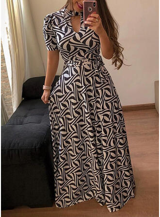 Plus Size Print Short Sleeves A-line Maxi Casual Dress