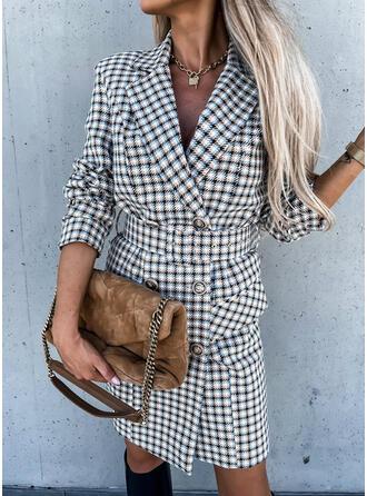 Plaid Long Sleeves Sheath Knee Length Elegant Tunic Dresses