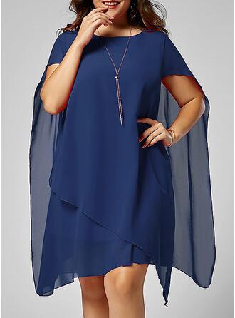Plus Size Solid Short Sleeves Shift Knee Length Elegant Little Black Party Dress