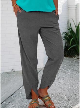 Couleur Unie Longue Décontractée Ancien Grande taille Poche Pantalon Pantalons de détente