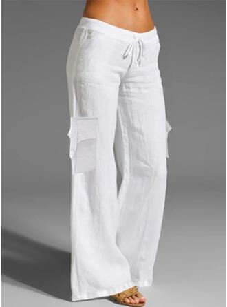 Couleur Unie Longue Décontractée Cordon Pantalon Pantalons de détente