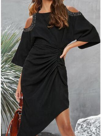 Solid Long Sleeves Cold Shoulder Sleeve Asymmetrical Knee Length Elegant Wrap Dresses