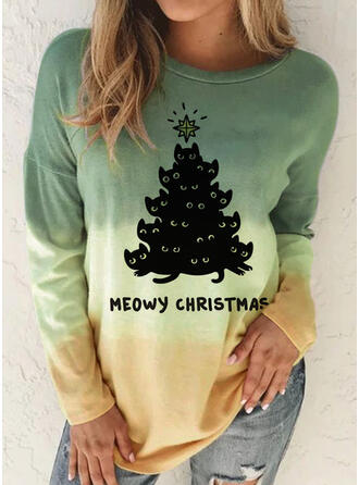 Christmas Gradient Letter Round Neck Long Sleeves T-shirts