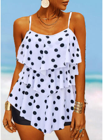 Dot Splice color Strap Round Neck Classic Tankinis Swimsuits