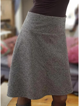 Cotton Blends Plain Above Knee Pencil Skirts