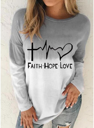 Print Figure Gradient Heart Round Neck Long Sleeves Casual T-shirts