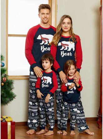 Bear Letter Print Family Matching Christmas Pajamas