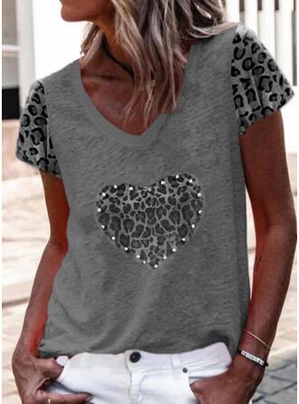 Con cuentas Leopardo Corazón Cuello en V Manga Corta Camisetas