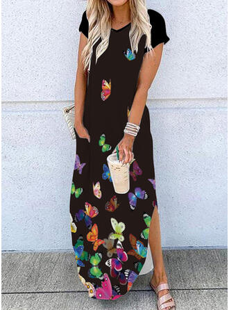 Print/Animal Short Sleeves Shift T-shirt Casual Maxi Dresses