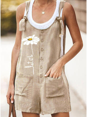 Floral Print Strap Sleeveless Casual Romper