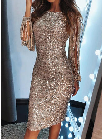 Sequins Long Sleeves Bodycon Knee Length Party Pencil Dresses