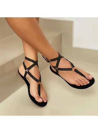 Femmes PU Talon plat Sandales Chaussures plates À bout ouvert Tongs avec Ouvertes Bandage chaussures