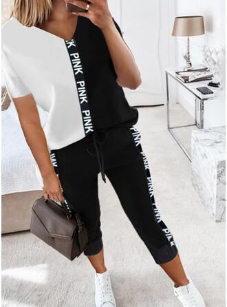 Letter Print Color Block Casual Plus Size Tee & Pants Two-Piece Outfits Set