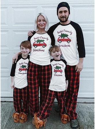 Color-Block Tela Escocesa Carta Impresión Familia a juego Pijamas De Navidad