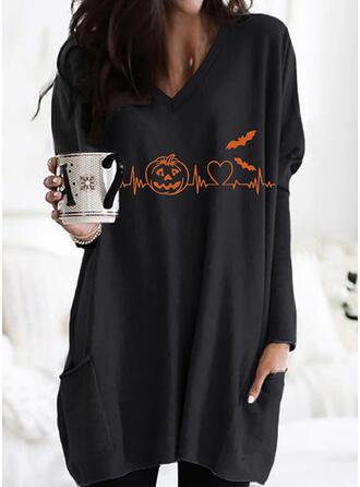 Halloween Imprimé Cœur Faune Col V Manches Longues Sweat-shirts