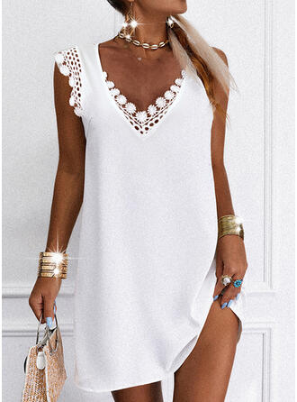 Lace/Solid Cap Sleeve Shift Above Knee Casual/Elegant Dresses