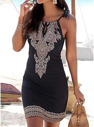 Print Sleeveless Bodycon Above Knee Casual/Boho/Vacation Slip Dresses