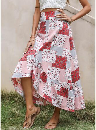 Tecido de seda Estampado Floral Assimétrico Casual Boho