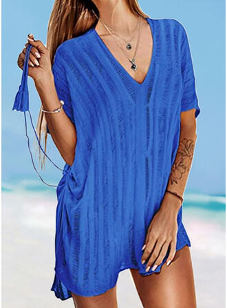 Solid Color V-Neck Elegant Fashionable Casual Cover-ups Swimsuits