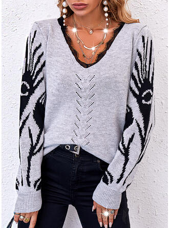 Halloween Print Lace V-Neck Casual Sweaters