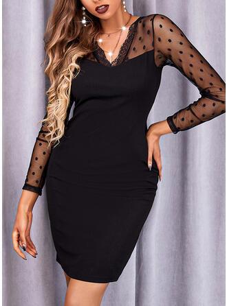 Sólido Manga Larga Cubierta Sobre la Rodilla Pequeños Negros/Elegante Vestidos